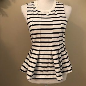 Anthropologie Postmark Striped Peplum Top Small S